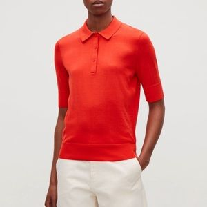COS Silk Cotton Polo Neck Short Sleeve Top In Red